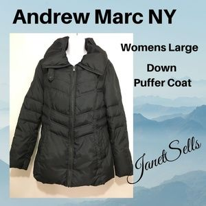 Andrew Marc NY L Black Down Quilted Puffer Jacket